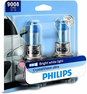 Philips Pack of 2 CrystalVision Ultra Upgraded Bright White Headlight Bulbs 9008