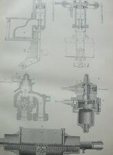 ANTIQUE PRINT C1870'S BRAKE ENGRAVING ENGINEERING MOTOR INDUSTRIAL CAR ENGINE