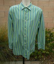 GAP MENS STRIPED DRESS SHIRT SIZE L 16/16.5 TALL FITTED PREMIUM