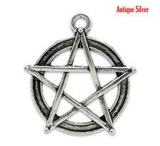 Pentacle pentagramme Pagan charme-Large-antique silver (Qté x 4)