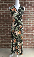 Tommy Bahama Women's Silk V Neck Maxi Floral Sleeveless Dress Brown Green Small