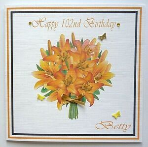 Personalised Hand made Ladies Birthday &  All Celebration Flower Card 6 in sq