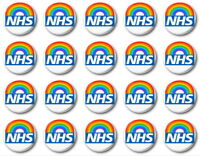 20 x NHS RAINBOW - BUTTON PIN BADGES - 1 inch / 25mm  - THANK YOU