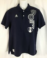 Le Coq Sportif Shirt Polo Navy Blue Spell Out Embossed Size M 101-107 Chest