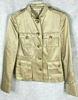 Banana Republic Womens Gold & Creme Striped Cotton & Silk Blazer Jacket 2