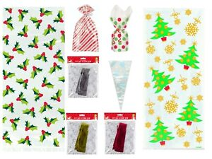 Christmas Cello Gift Bags Xmas Cone Twist ties Sweet Treat Snowflake Cellophane