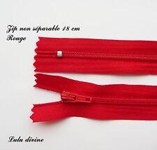Zip/ Fermeture éclair simple non séparable de 18 cm, Couleur Rouge