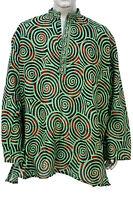 Indian 100% Cotton Geometric Print Men Shirt Kurta Plus Size Loose fit Tunic