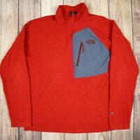 Mens Vintage The North Face Quarter Zip Fleece Jumper FlashDry Red Size L