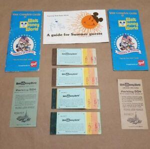 Lot 1976 WALT DISNEY WORLD Authentic Adult Child Ticket Books Parking Pass Guide