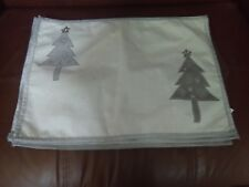Silver Fabric Place mats with Christmas Tree Design - Set of 4