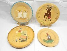 HANDPAINTED WOOD COLLECTOR PLATES, DANISH, SWEDISH, NORWEGIAN, ONE SIGNED