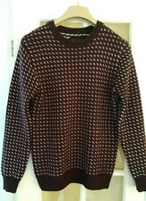Men's Red Herring Jumper BURGUNDY AND WHITE UK SIZE EXTRA SMALL XS
