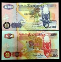 Zambia 100 and 50 Kwacha Banknote World Paper Money UNC Currency Bill Note