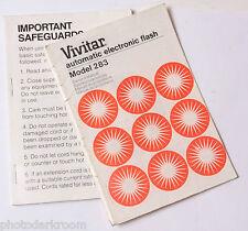 Vivitar 283 Flash Instruction Manual Book - English De Fr Es - 1978 - USED B14
