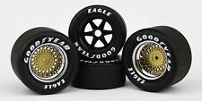 GOOD YEAR EAGLE WHEELS & TIRES MARCH INDY 500 RACE CAR SET 1:18 GOLD REPLICARZ