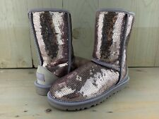 UGG CLASSIC SHORT HEATHERED LILAC SPARKLES SEQUIN BOOTS WOMENS  US 5  NEW