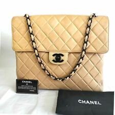 Authentic Chanel  Tan Quilted Leather Large Flap Shoulder Bag