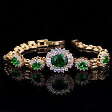 10Ct Oval Cut Emerald Tennis Bracelet 14K Yellow Gold Finish All Size Available