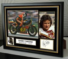 """Barry Sheene Motor Cycle legend Framed Canvas Signed """"Great Gift"""""""
