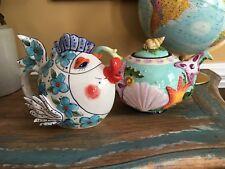 2 NEW Blue Sky Clayworks Teapots Kissy Fish & Seashells Starfish - Ocean Beach