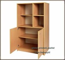 Large Wooden Bookcase 2 Door 4 Shelf Office Library Storage Display Cabinet Unit