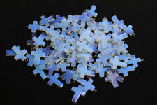 Wholesale Lots 50X Bulk Synthetic Opal Stone Cross Silver P Beads Pendants FREE