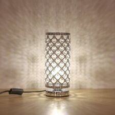 Crystal Table Lamp Decorative Bedside Nightstand Desk Lamp for Bedroom Silver