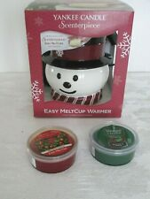 Yankee Candle Snowman Scenterpiece Easy MeltCup Warmer w/2 Candles NIB