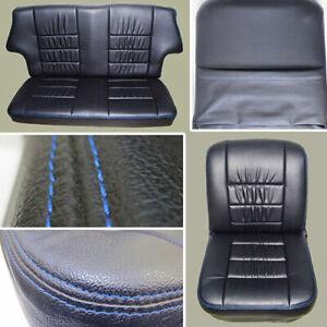 CLASSIC MINI SEAT COVERS, BLACK WITH BLUE STITCH or CREAM WITH CREAM STITCH
