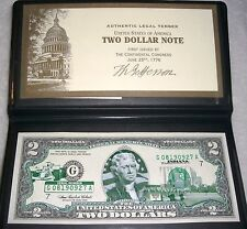 3- INDIANA STATE $2 BILLS, 2003A,  UNCIRCULATED w/CASES, CONSECUTIVE SERIAL #'s.