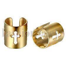 2pcs Men Women Stainless Steel Wide Cross Ear Cuff Non-Piercing Clip On Earrings