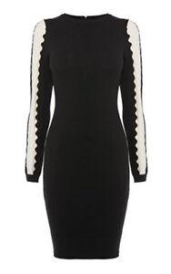 Karen Millen Cutout Sleeve black white Knit Dress Size Large/AUS Size 14