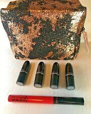MAC Black & Rose Gold LE Cosmetic Bag 4 Travel Lipsticks & Full Lip Gloss GLOBAL