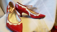 "Peter Fox ""Titanic"" glamorous red and white strap vintage shoes, 9.5"