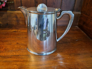 Good Vintage  Art Deco Walker & Hall Silver Plated 2 Pint Coffee Pot/Hot Water