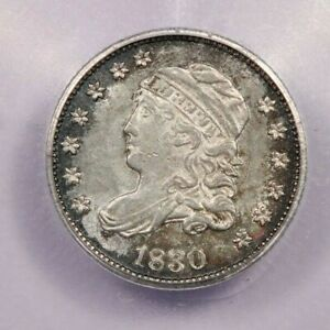 1830 Capped Bust Half Dime ICG AU55 beautiful flashy little coin!