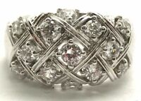 Sterling Silver Round CZ Accent X Weaved Pattern Dome Elegant Cocktail Ring 7.25