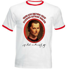 NICCOLO MACHIAVELLI DANGER QUOTE - RED RINGER COTTON TSHIRT