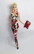 Handmade Red Black Dot Outfit Dress Vest Crop Pants & Handbag For Barbie Doll FR