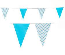 Azul de bebé empavesado Raya Zig Zag su decoración de cumpleaños de un niño 20m 40 2 Packs Banderas