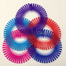 5 Pieces Stretch Circle Hair Band Flexible Teeth Barrette Butterfly Dark Color