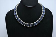 .925 Solid Sterling Silver 16.5 Inch Hand-Made Inlaid Sodalite Link Necklace