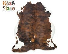 Brown Brindle Cowhide Rug Premium Quality (size X-Large approx 6x7 feet)