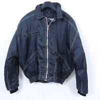 AMADEO Vintage Mens Black Full Zip Lined Bomber Harrington Jacket Coat SIZE XL