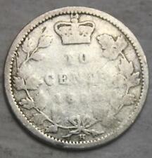 Canada 1880H Silver 10 Cents, Filler Grade, Barely Legible, Queen Victoria (10g)