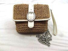 BRIGHTON CROSSBODY Handbag Bag BROWN STRAW WHITE Patent Leather CHAIN MINI