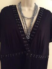 Black Maxi Dress Size 22 Party Special Occasion EVANS Embellished Neckline