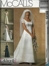 New McCalls 8635 Sizes 4 6 8 Pattern Wedding Bridesmaid Dress Princess Train