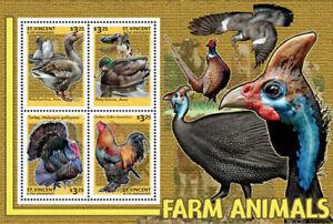 St. Vincent 2014 - Farm Animals, Duck, Chicken, Turkey - Sheet of 4 Stamps - MNH